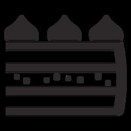 Geschichtetes Stück Kuchen schwarz