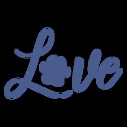 Letras de pegada de cachorro amor