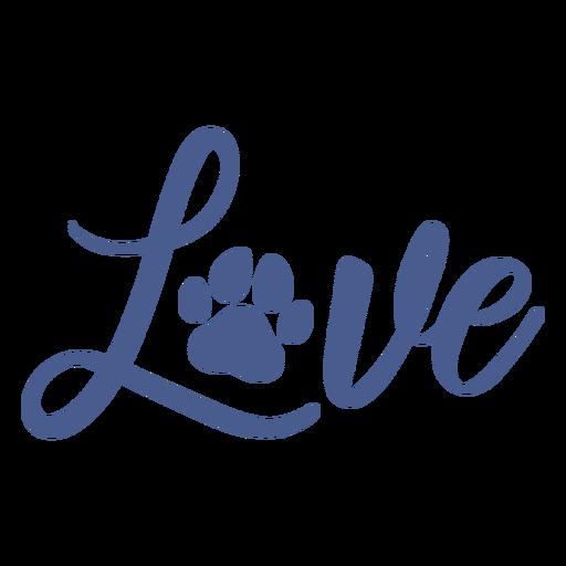 Love dog footprint lettering