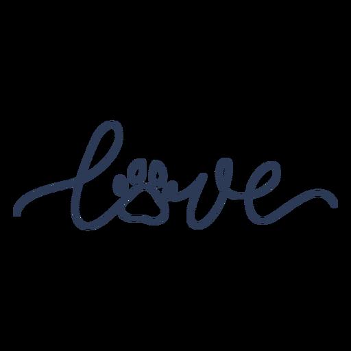 Love dog paw lettering Transparent PNG