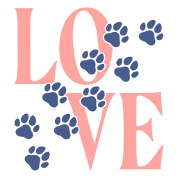 Amor pegadas patas letras