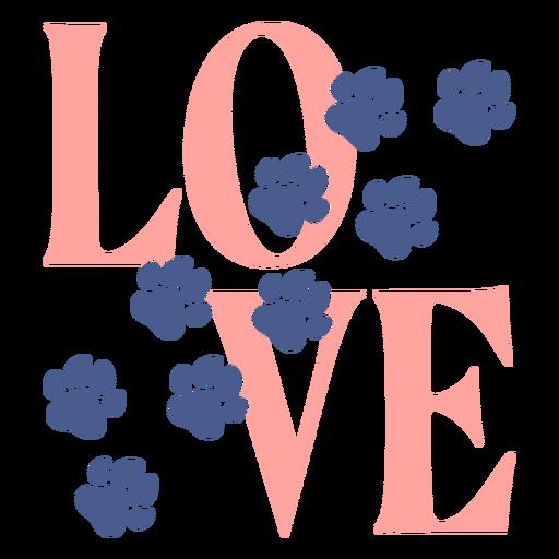 Love footprints paws lettering Transparent PNG