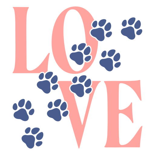 Love footprints paws lettering