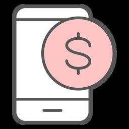 Icono de color de notificación de aplicación de dinero
