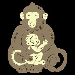 Mono y su hijo dibujados a mano.
