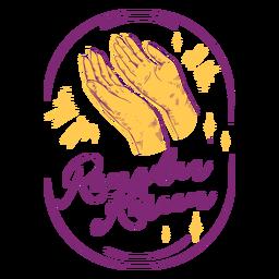 Orando Ramadán Kareem dibujado a mano