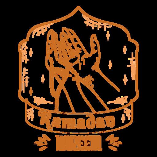 Praying with necklace ramadan hand drawn