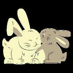 Conejo y su hijo dibujados a mano.