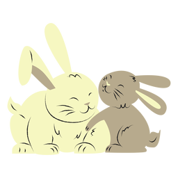 Rabbit and her son hand drawn