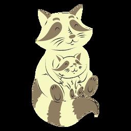 Mapache y su hijo dibujados a mano