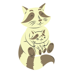 Raccoon and her son hand drawn