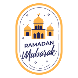 Ramadan mubarak color mosques badge
