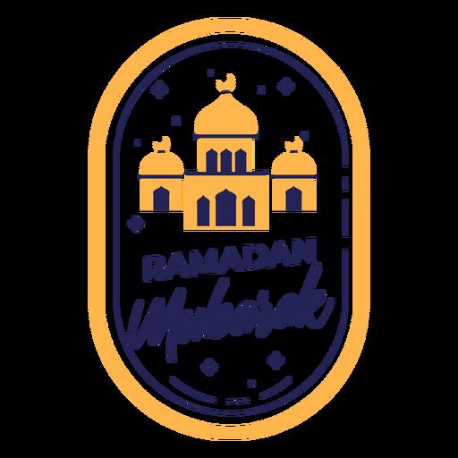 Ramadan mubarak color mosques badge