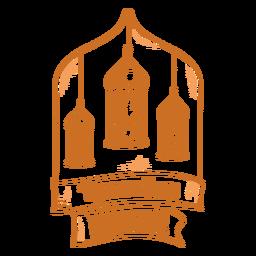 Distintivo de luzes do Ramadã mubarak