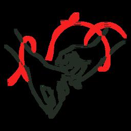 Trazo de enlace de cuerda roja