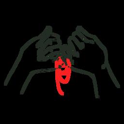 Mãos vermelhas da amizade