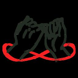 Cuerda roja infinita en manos
