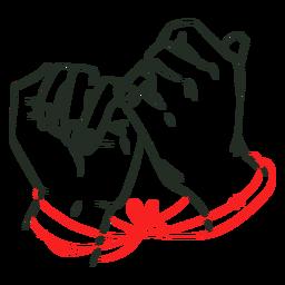 Cordão vermelho do vínculo do destino
