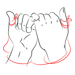 Cuerda roja unión manos