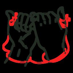 Mãos de união de corda vermelha
