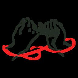 Mãos de amor de corda vermelha