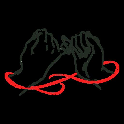 Manos de amor de hilo rojo Transparent PNG