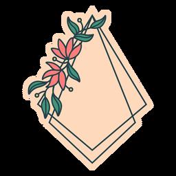 Color de marco floral de cometa invertida