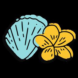 Concha do mar e flor de plumeria plana