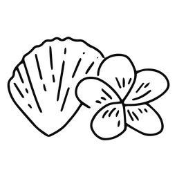 Seashell and plumeria flower stroke