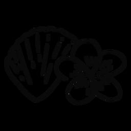 Trazo de flor de concha y plumeria