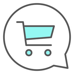 Carrinho de compras na bolha de conversa