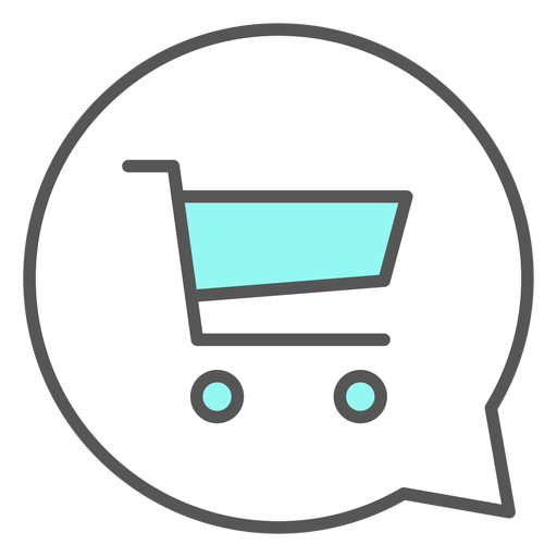 Shopping cart in conversation bubble