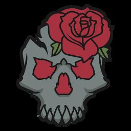 Caveira com uma rosa