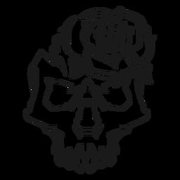 Calavera con una ilustración de rosa