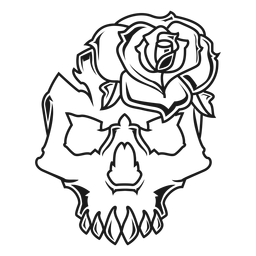 Skull with a rose illustration