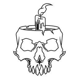 Cráneo con ilustración de vela