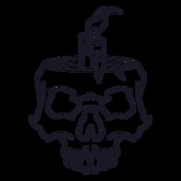 Crânio com traço de vela