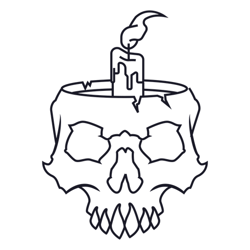 Skull with candle stroke