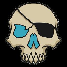 Cráneo con parche en el ojo