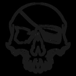 Cráneo con ilustración de parche en el ojo