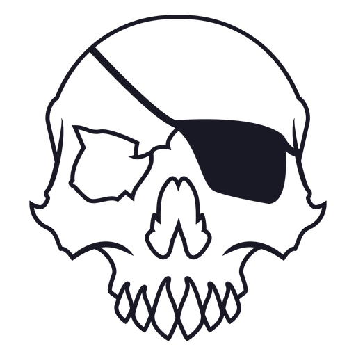 Skull with eyepatch stroke
