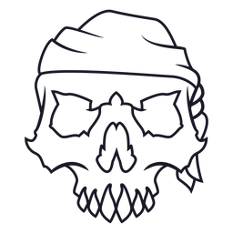 Skull with headband stroke
