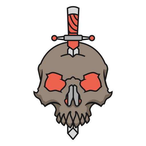 Skull with knife Transparent PNG