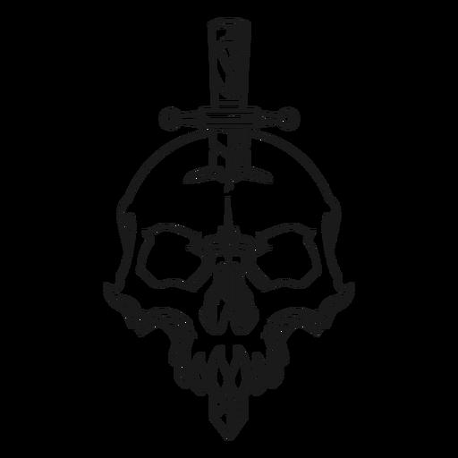 Cráneo con ilustración de cuchillo