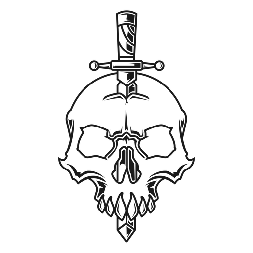 Skull with knife illustration