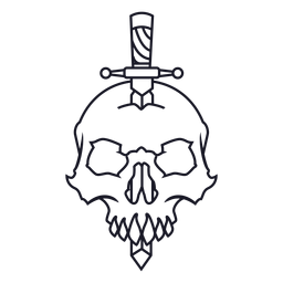 Skull with knife stroke