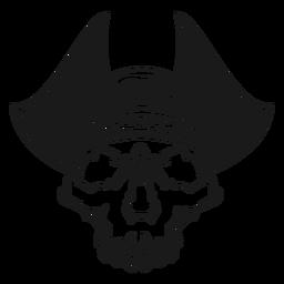 Cráneo con ilustración de sombrero de pirata