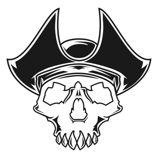 Skull with pirate hat illustration Transparent PNG