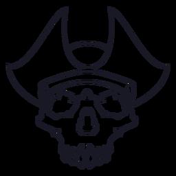 Calavera con trazo de sombrero pirata