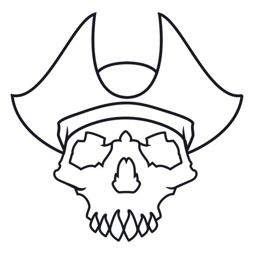 Skull with pirate hat stroke